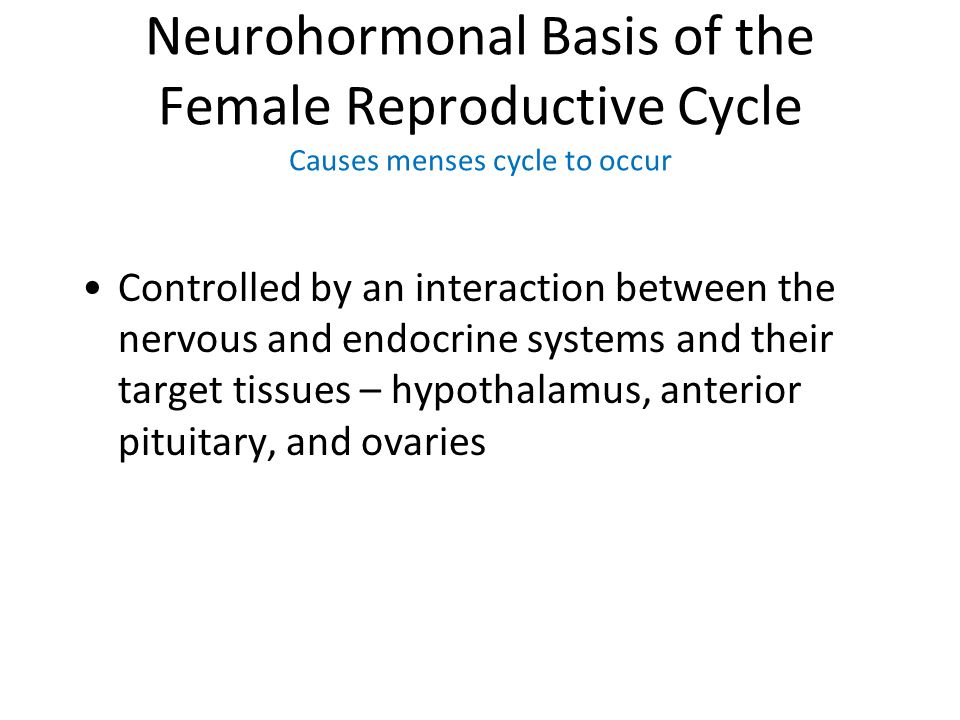 Neurohormonal Basis of the Female Reproductive Cycle Causes menses cycle to occur