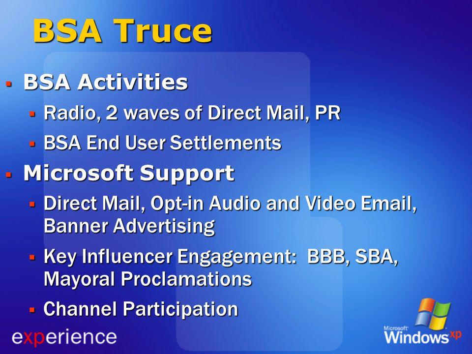 BSA Truce BSA Activities Radio, 2 waves of Direct Mail, PR