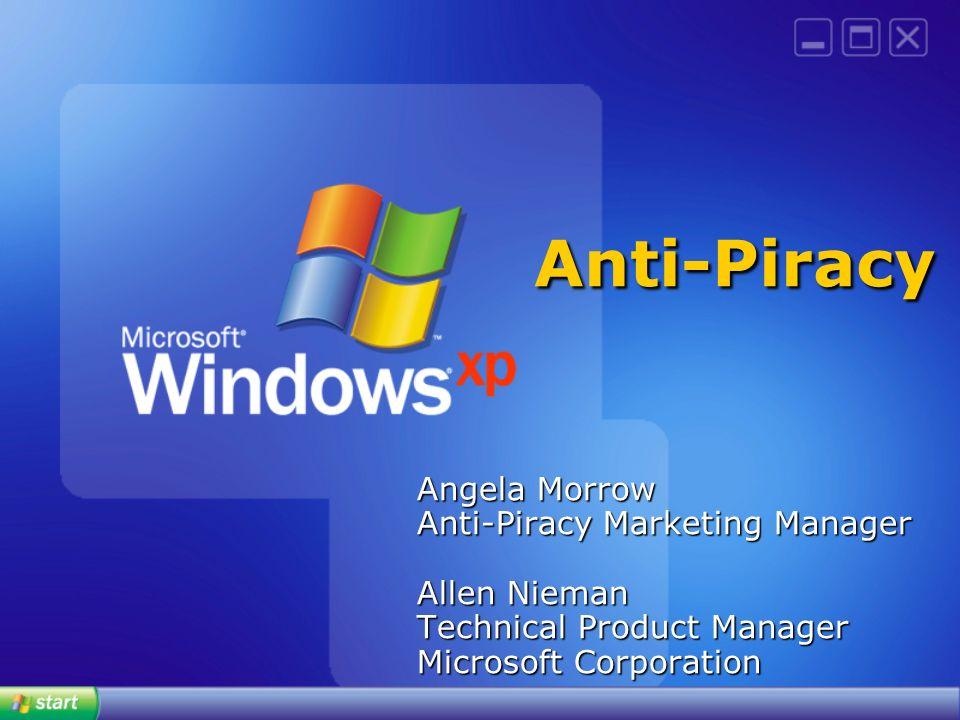 Anti-Piracy Angela Morrow Anti-Piracy Marketing Manager Allen Nieman Technical Product Manager Microsoft Corporation.
