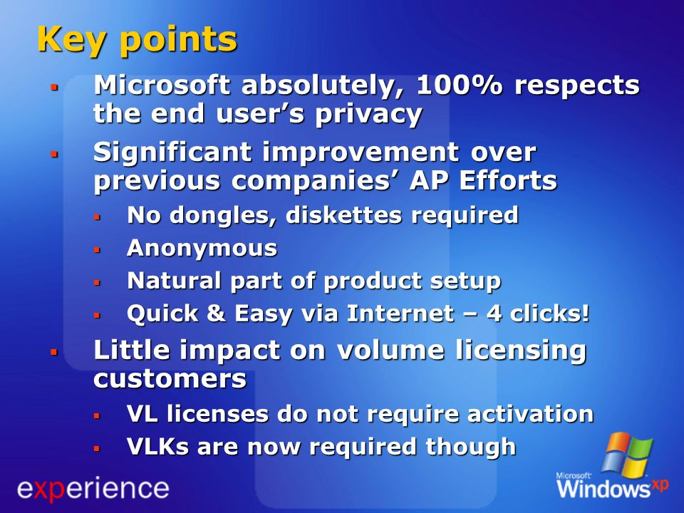 Key points Microsoft absolutely, 100% respects the end user's privacy
