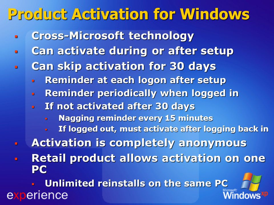Product Activation for Windows