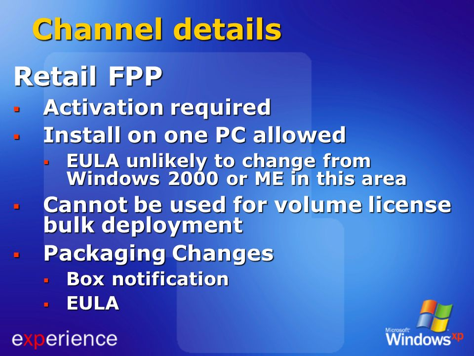 Channel details Retail FPP Activation required