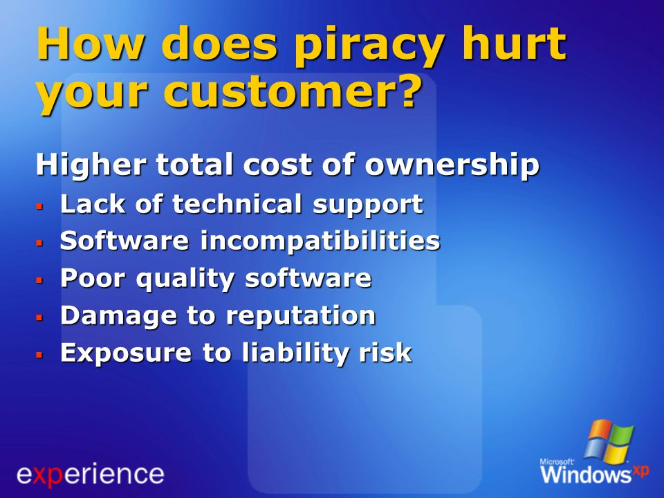 How does piracy hurt your customer
