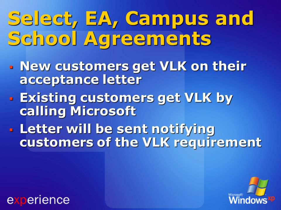 Select, EA, Campus and School Agreements