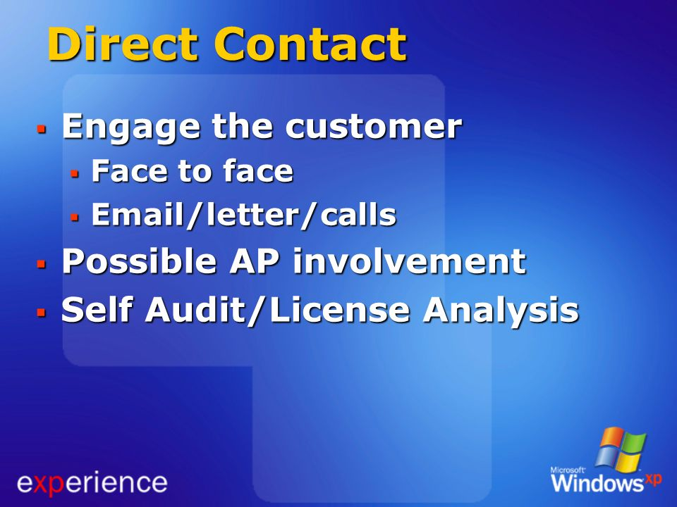 Direct Contact Engage the customer Possible AP involvement