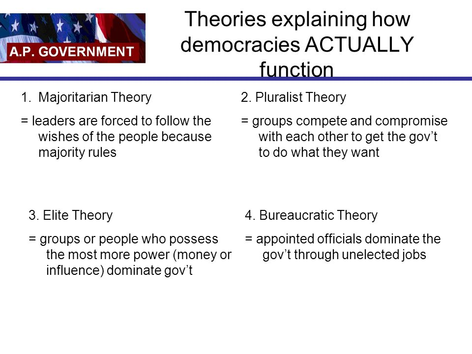 Theories explaining how democracies ACTUALLY function