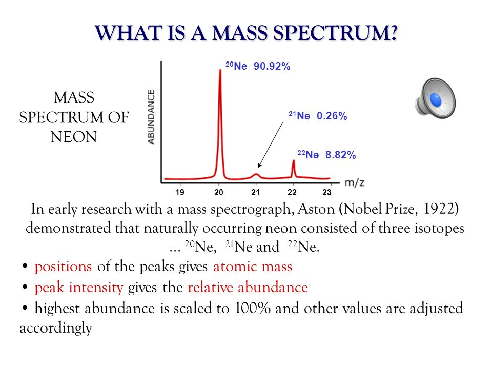 WHAT IS A MASS SPECTRUM MASS SPECTRUM OF NEON