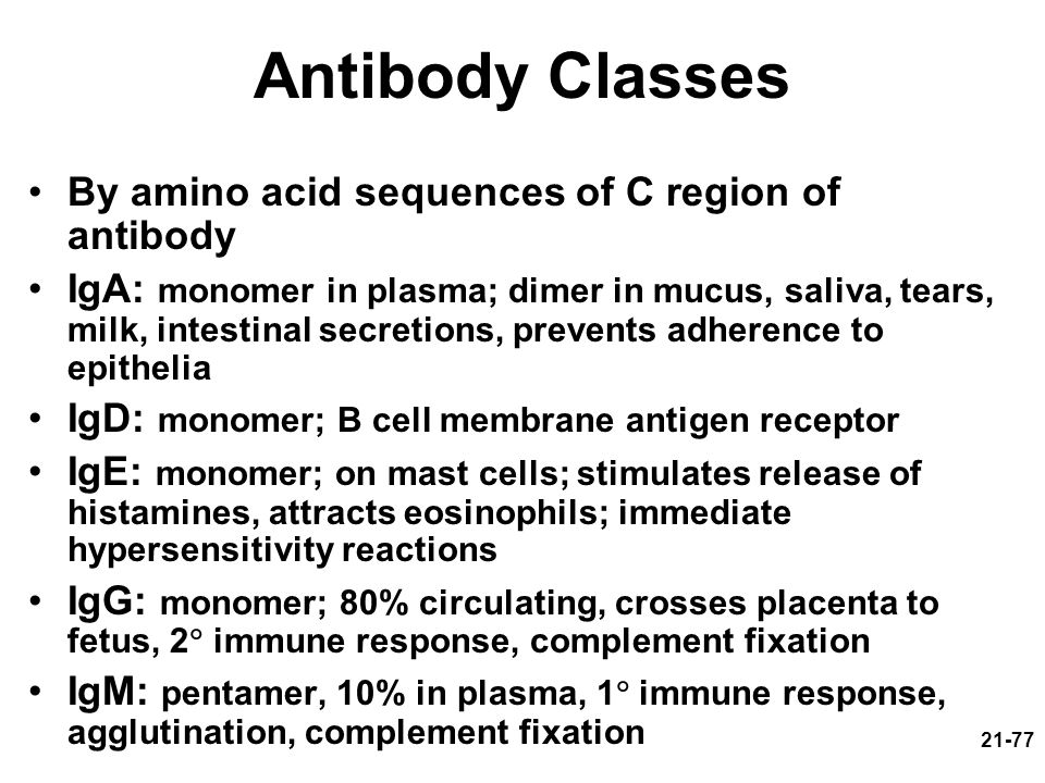 Antibody Classes By amino acid sequences of C region of antibody