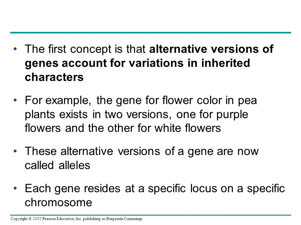 The first concept is that alternative versions of genes account for variations in inherited characters