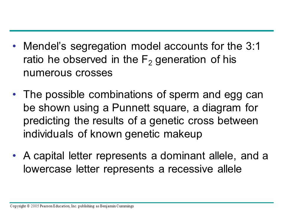 Mendel's segregation model accounts for the 3:1 ratio he observed in the F2 generation of his numerous crosses