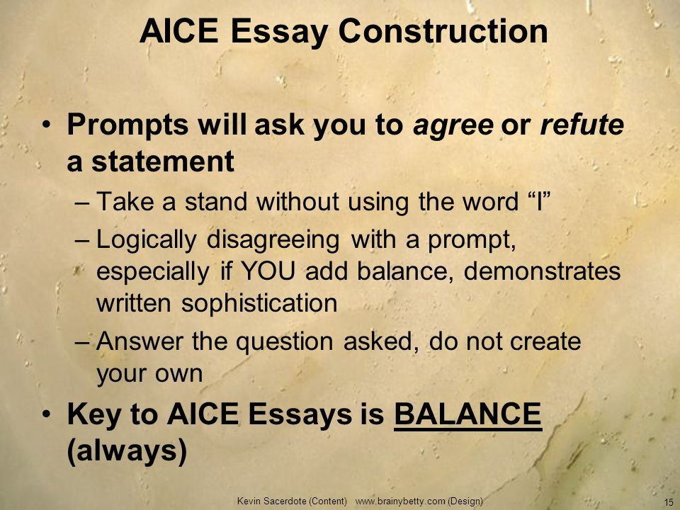AICE Essay Construction