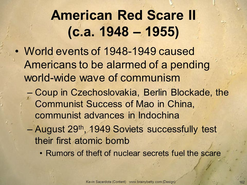 American Red Scare II (c.a. 1948 – 1955)