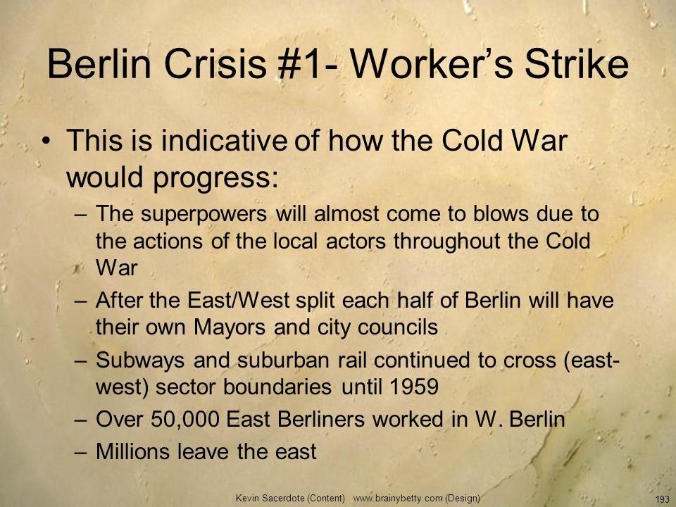 Berlin Crisis #1- Worker's Strike