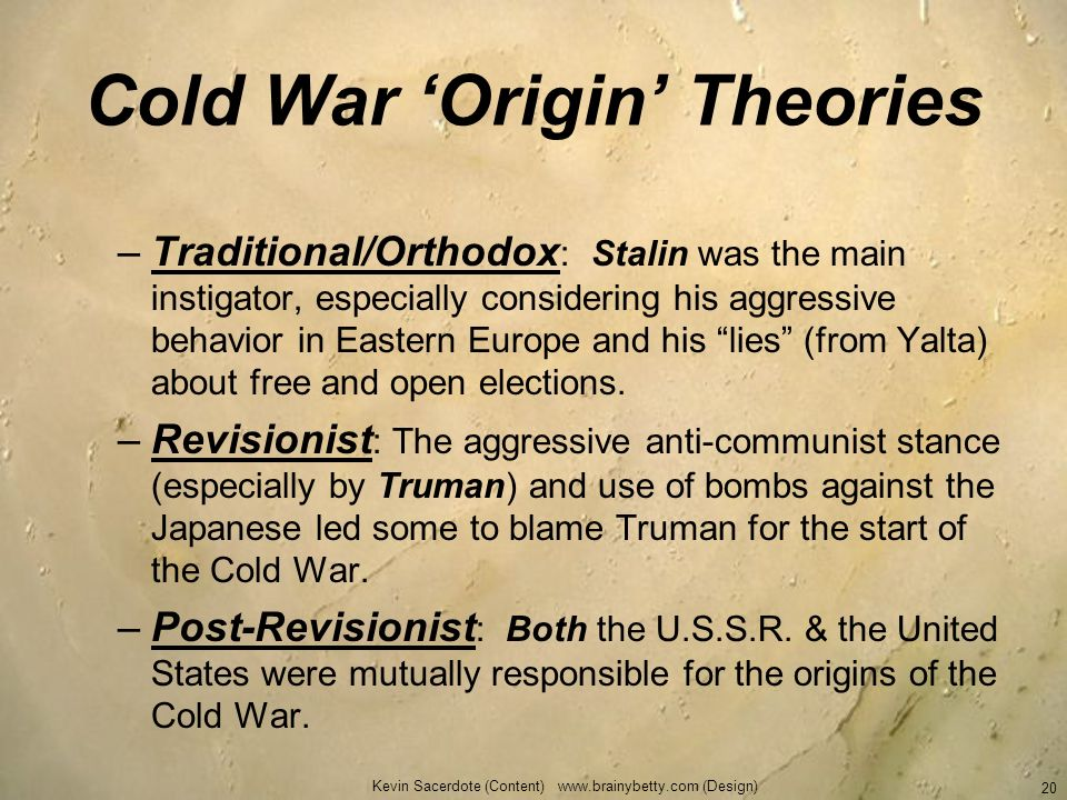 Cold War 'Origin' Theories