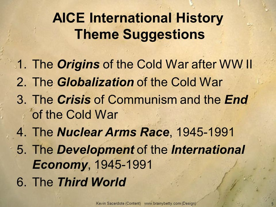 AICE International History Theme Suggestions