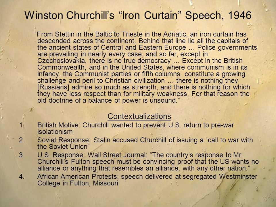 Winston Churchill's Iron Curtain Speech, 1946