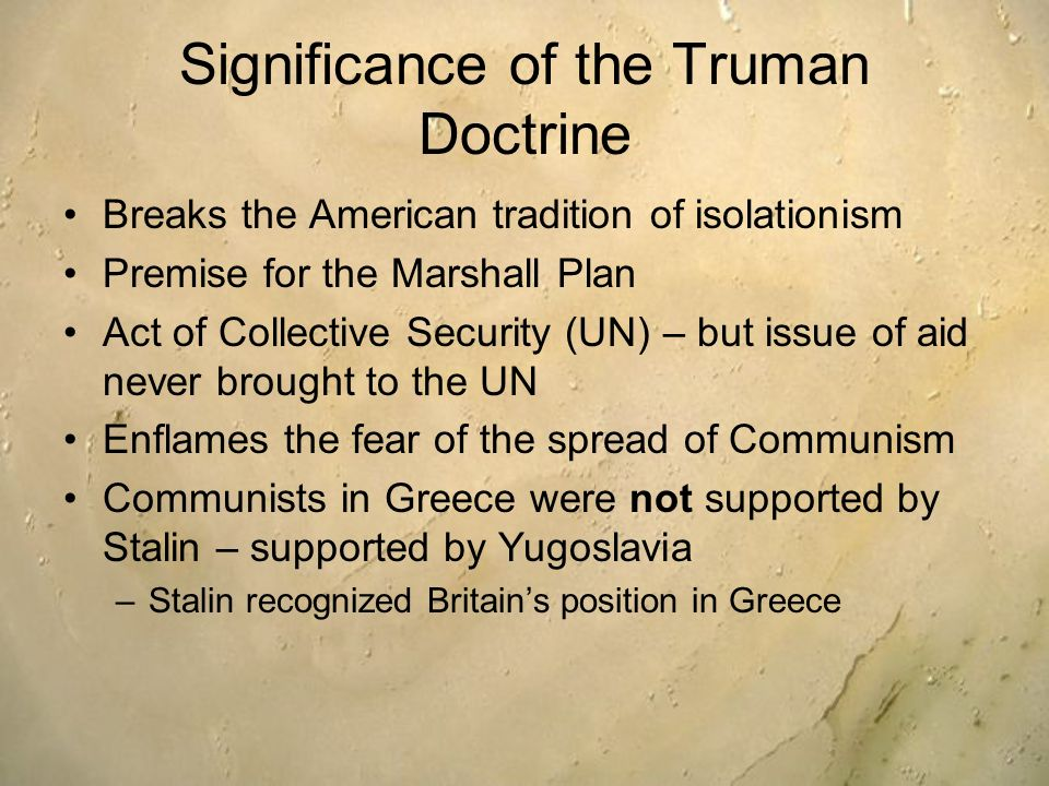 truman doctrine thesis statement Harry s truman: may 8, 1946: statement by the president on the anniversary of v-e day harry s truman:  the truman doctrine: harry s truman: march 15, 1947.