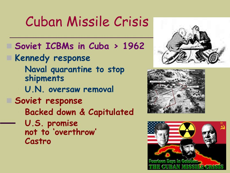 Cuban Missile Crisis Soviet ICBMs in Cuba > 1962 Kennedy response