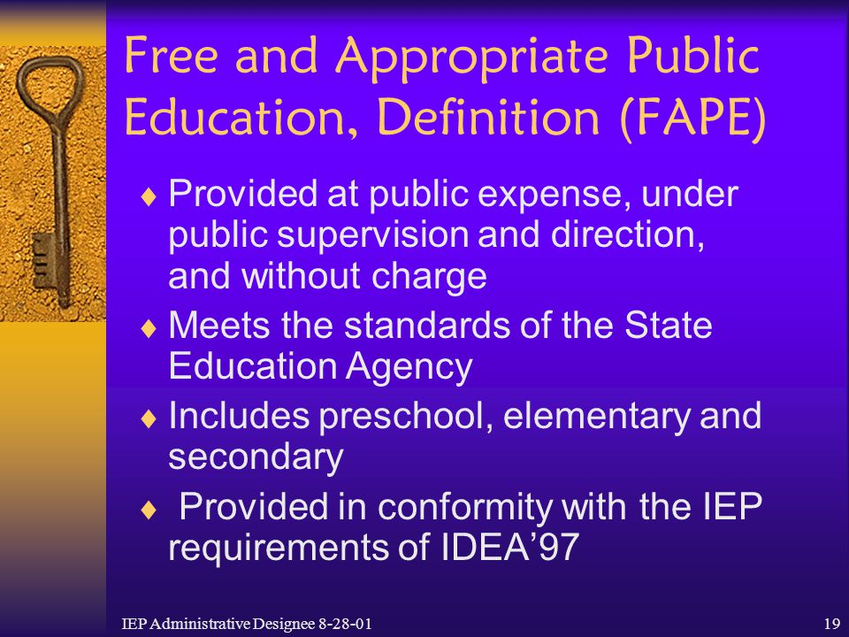 Free and Appropriate Public Education, Definition (FAPE)