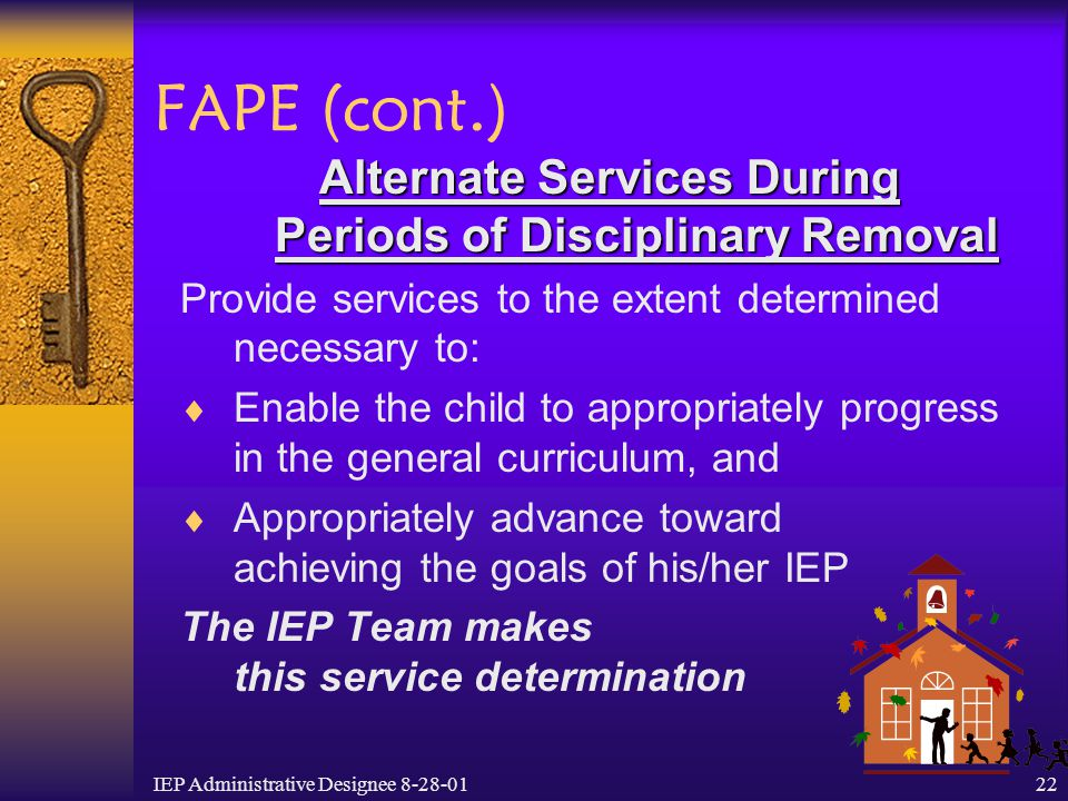Alternate Services During Periods of Disciplinary Removal