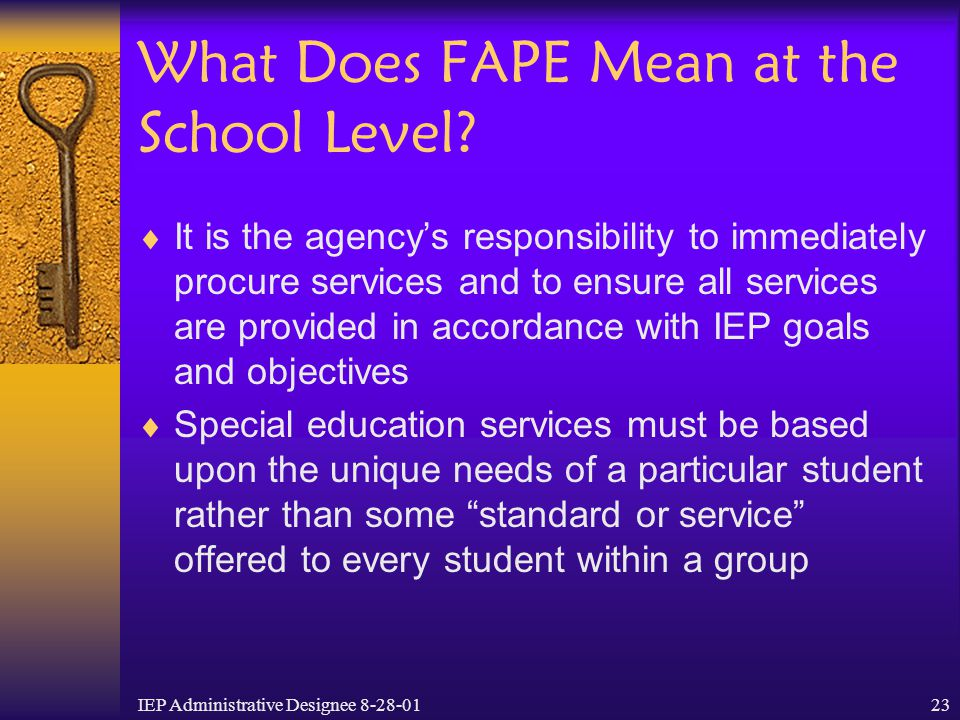 What Does FAPE Mean at the School Level