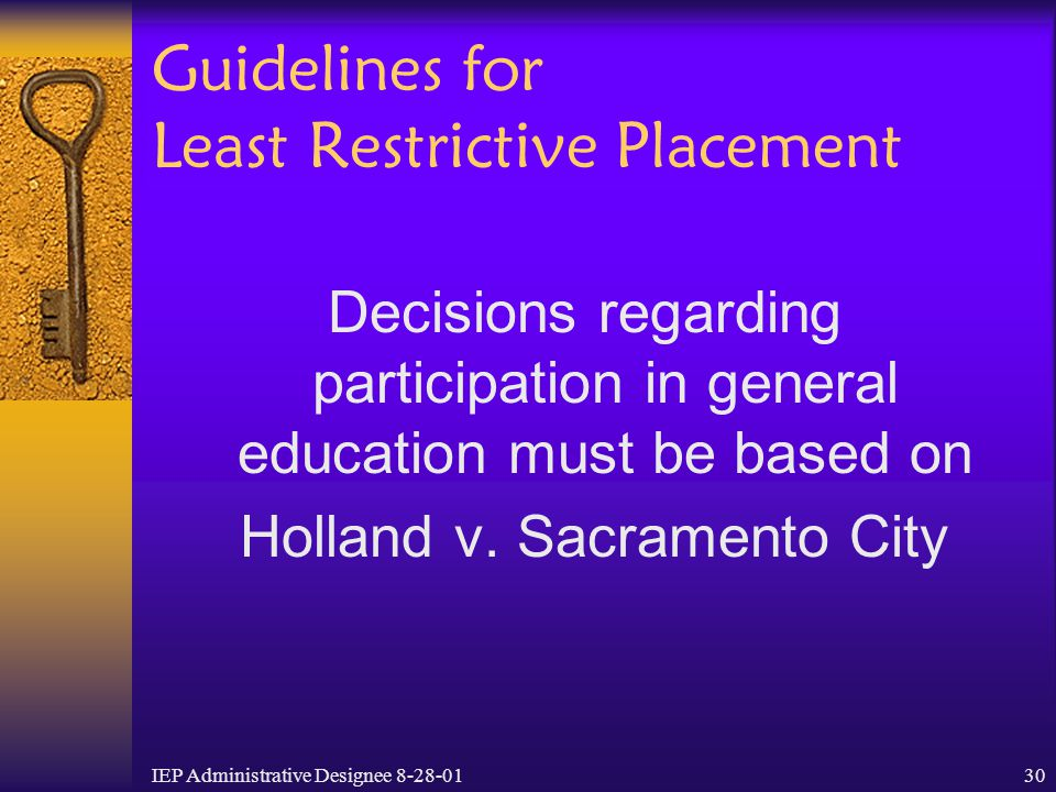 Guidelines for Least Restrictive Placement