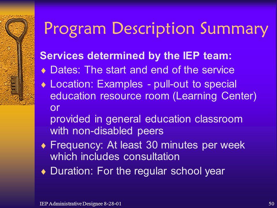 Program Description Summary