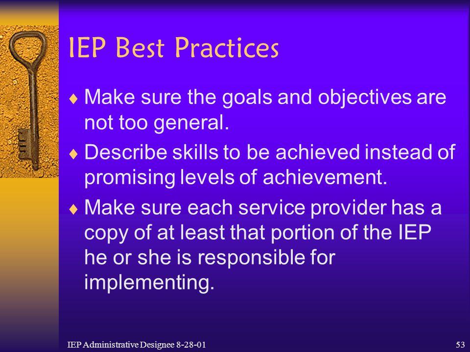IEP Administrative Designee 8-28-01