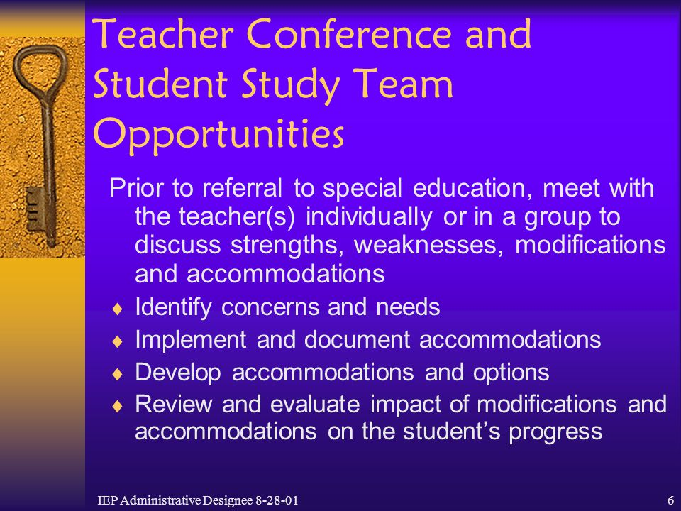 Teacher Conference and Student Study Team Opportunities