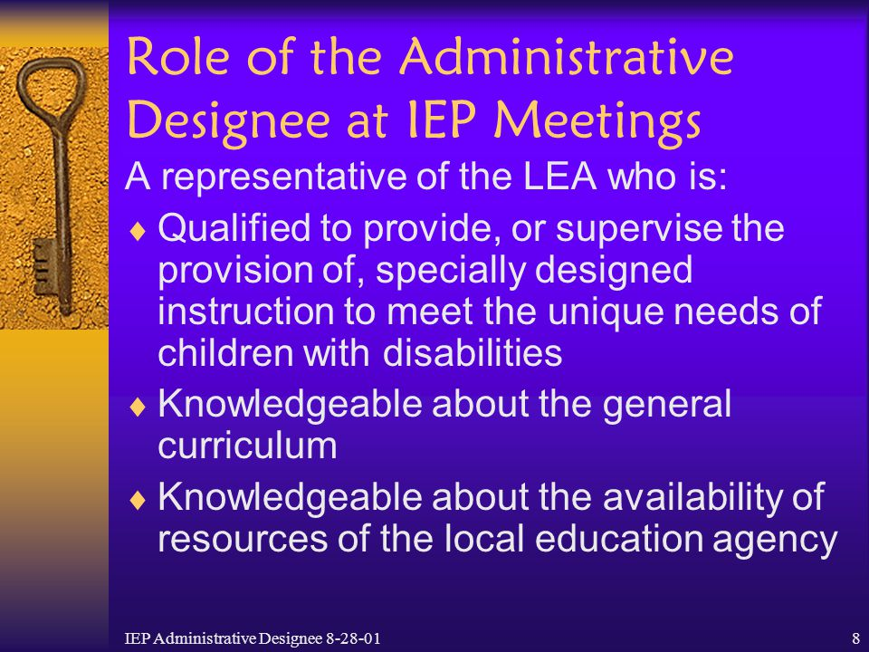 Role of the Administrative Designee at IEP Meetings