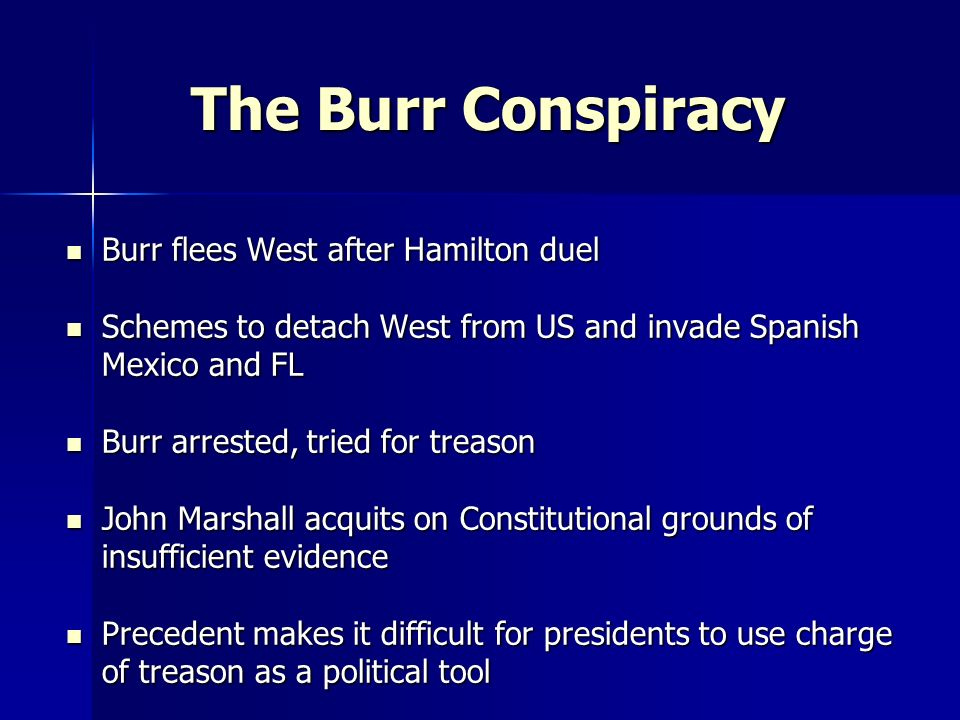 The Burr Conspiracy Burr flees West after Hamilton duel