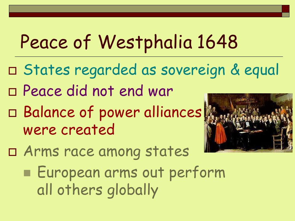 Peace of Westphalia 1648 States regarded as sovereign & equal
