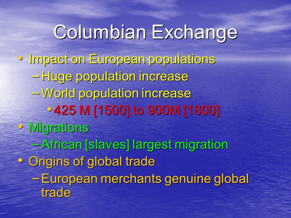 Columbian Exchange Impact on European populations