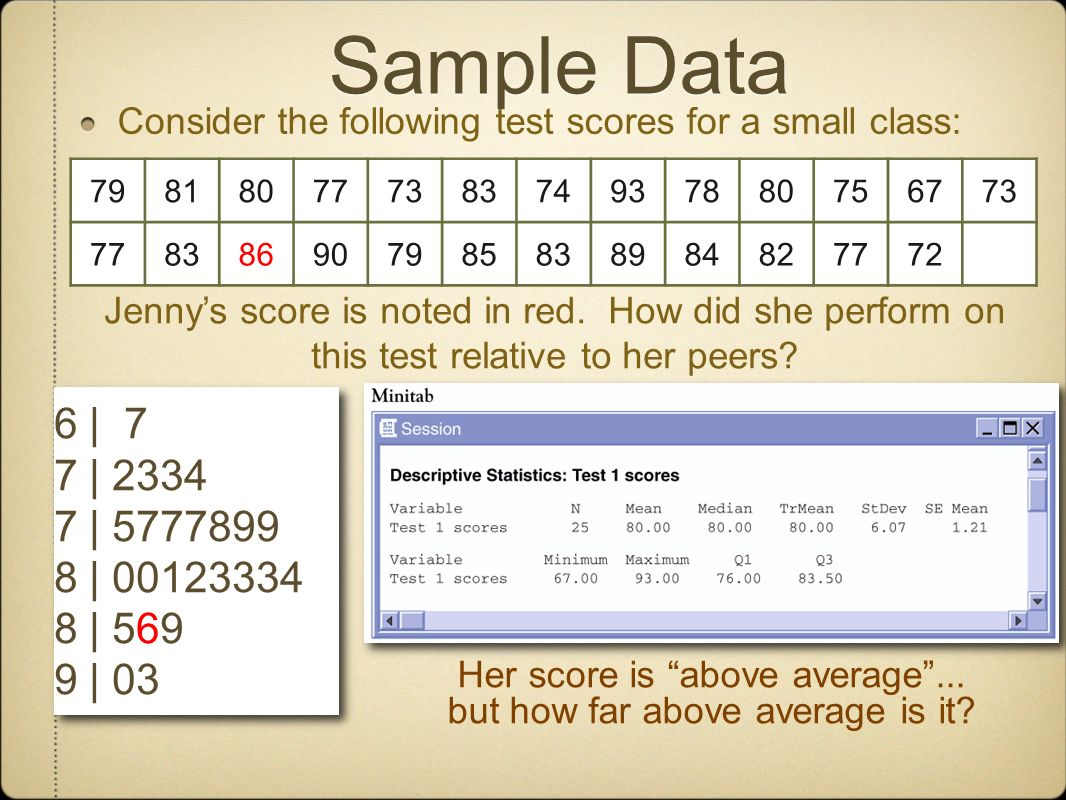 Sample Data Consider the following test scores for a small class: