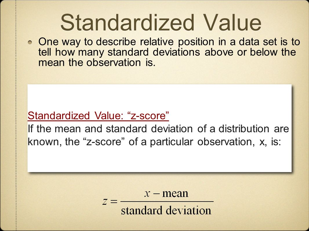 Standardized Value