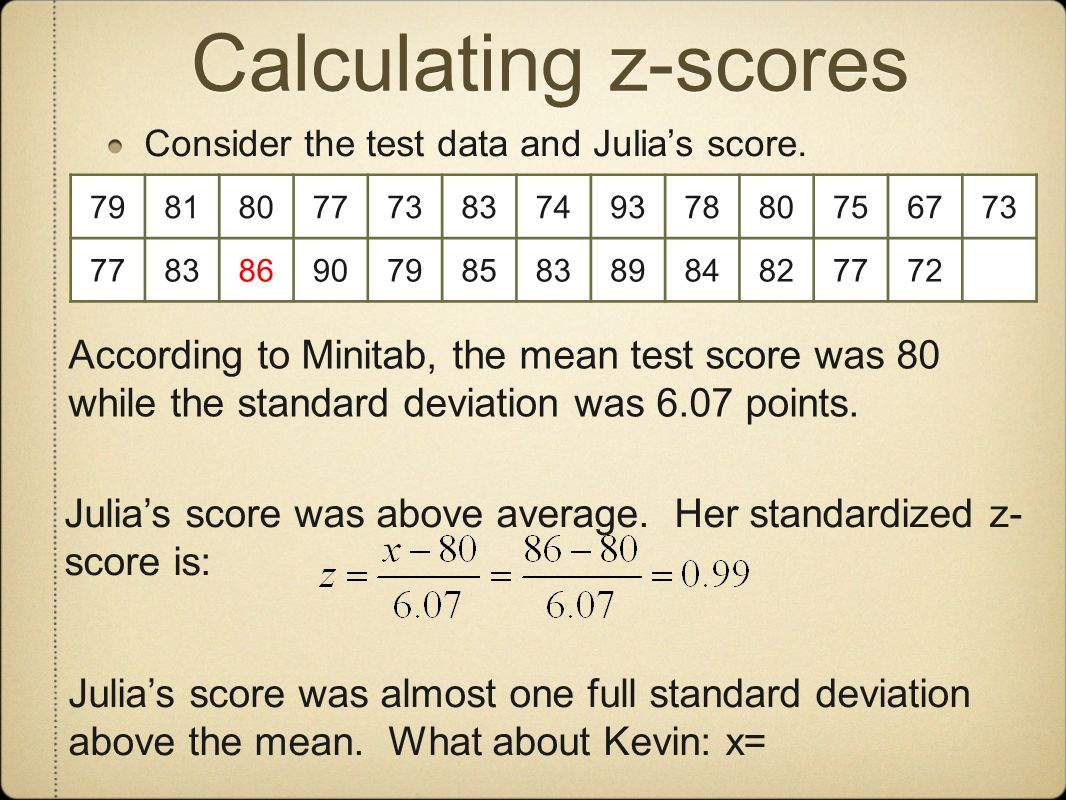 Calculating z-scores Consider the test data and Julia's score. 79. 81. 80. 77. 73. 83. 74. 93.