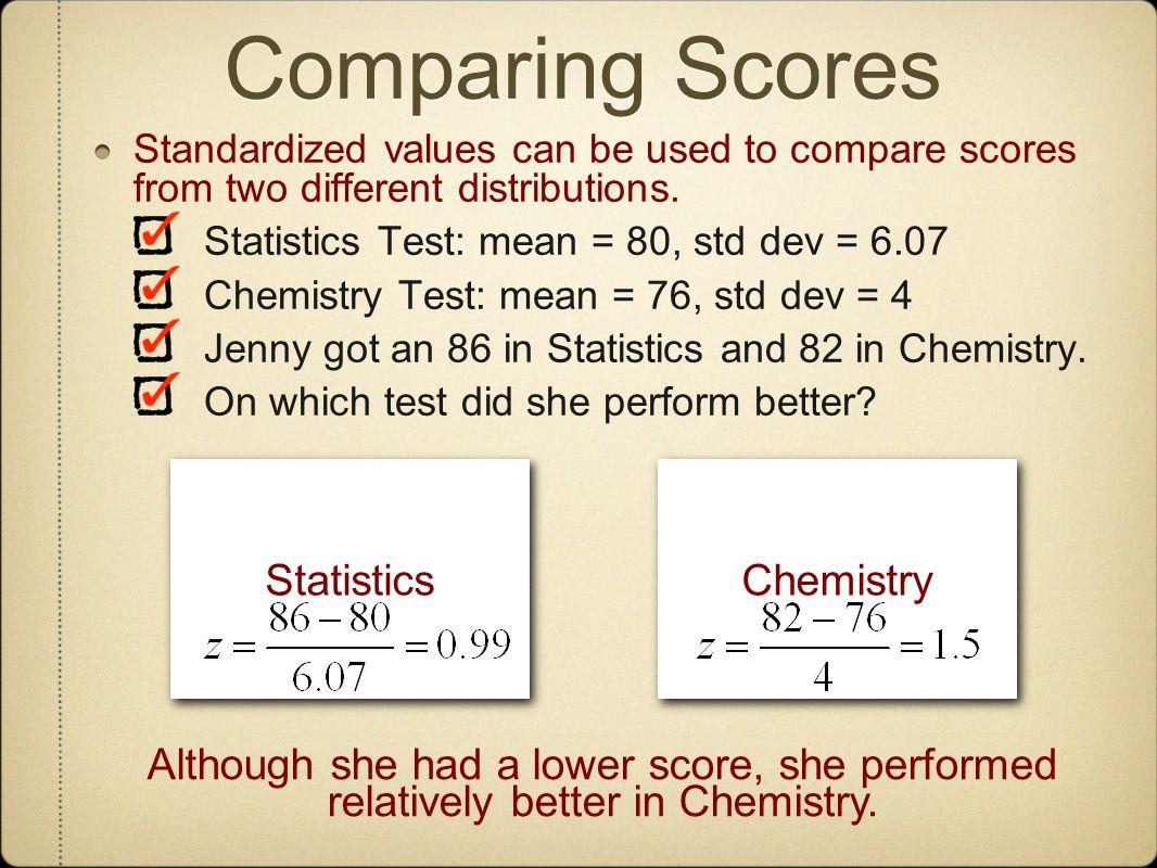 Comparing Scores Statistics Chemistry