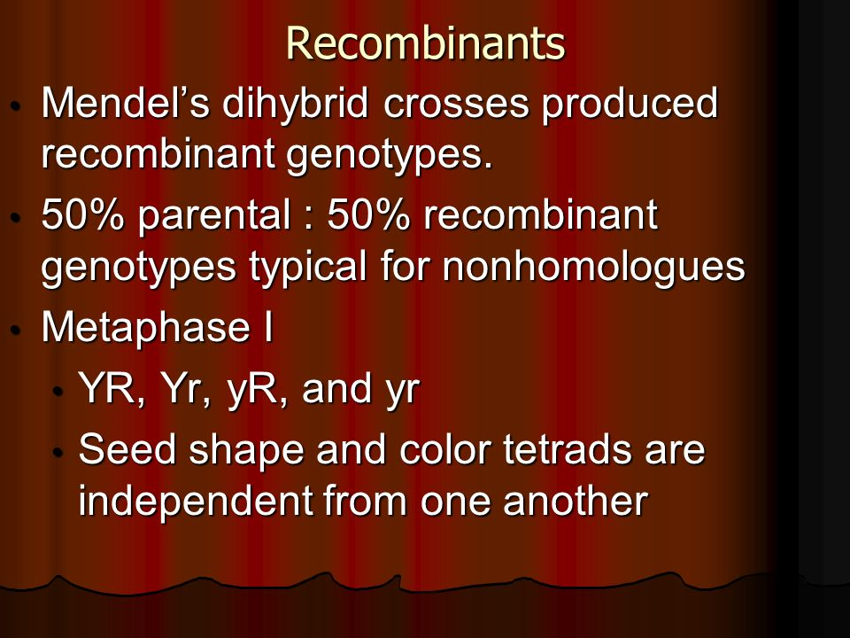 Recombinants Mendel's dihybrid crosses produced recombinant genotypes.