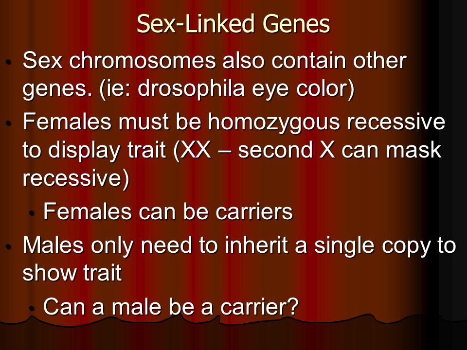 Sex-Linked GenesSex chromosomes also contain other genes. (ie: drosophila eye color)