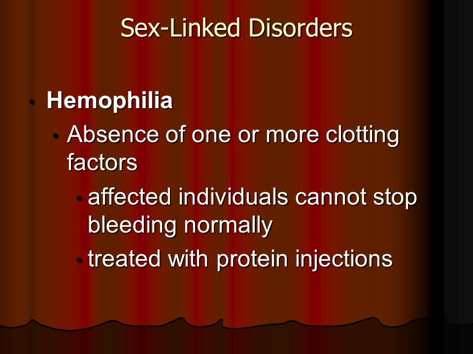 Sex-Linked Disorders Hemophilia