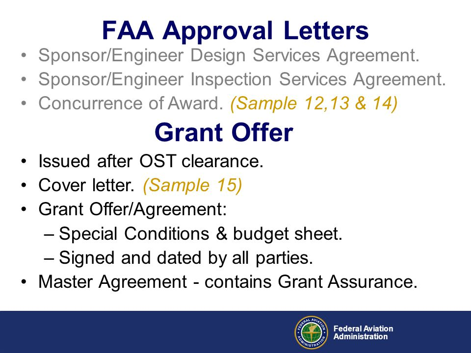 FAA Approval Letters Grant Offer