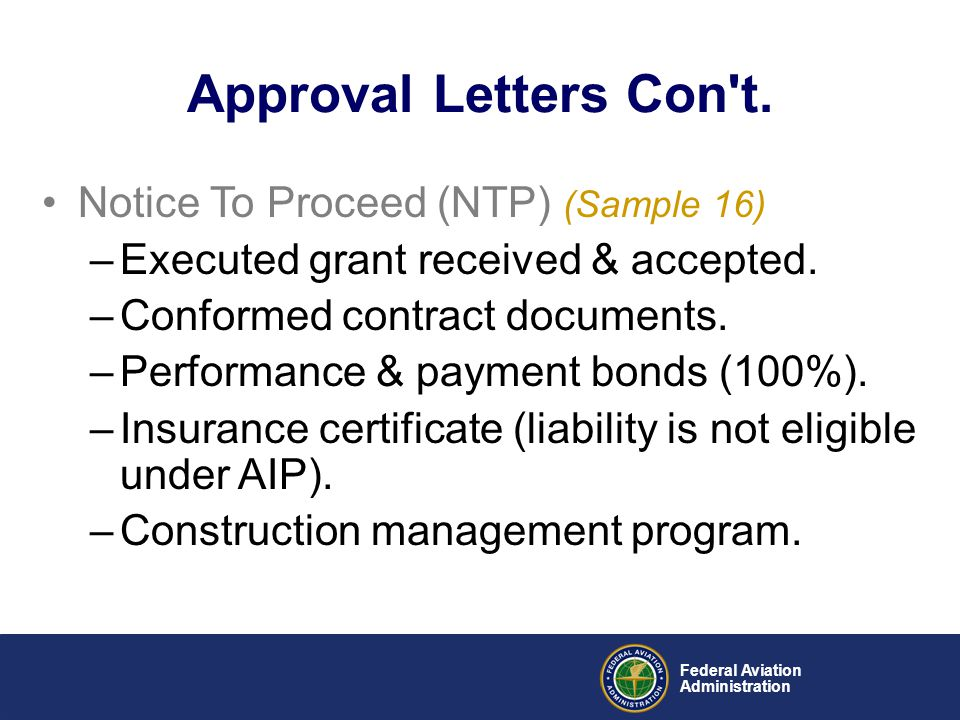 Approval Letters Con t. Notice To Proceed (NTP) (Sample 16)