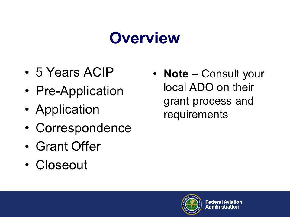 Overview 5 Years ACIP Pre-Application Application Correspondence