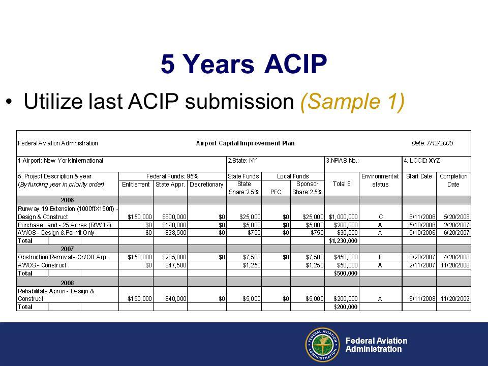5 Years ACIP Utilize last ACIP submission (Sample 1) Federal Aviation
