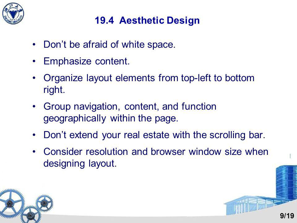 Don't be afraid of white space. Emphasize content.
