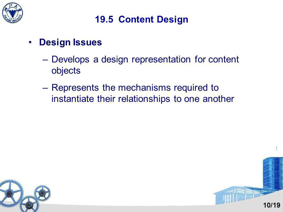 Develops a design representation for content objects