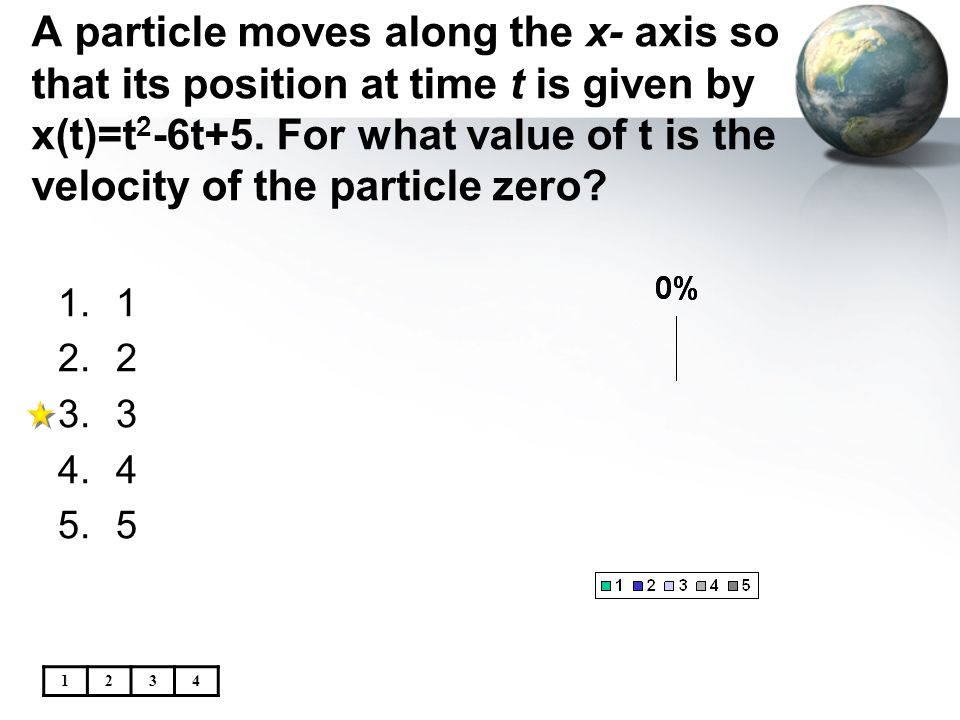 A particle moves along the x- axis so that its position at time t is given by x(t)=t2-6t+5. For what value of t is the velocity of the particle zero