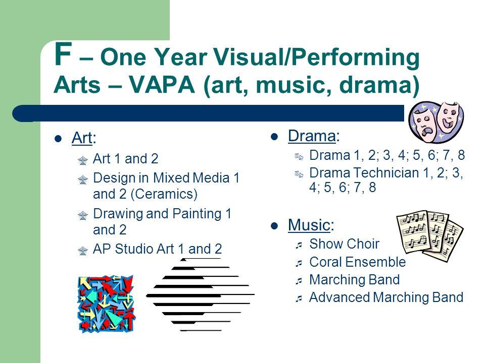 F – One Year Visual/Performing Arts – VAPA (art, music, drama)