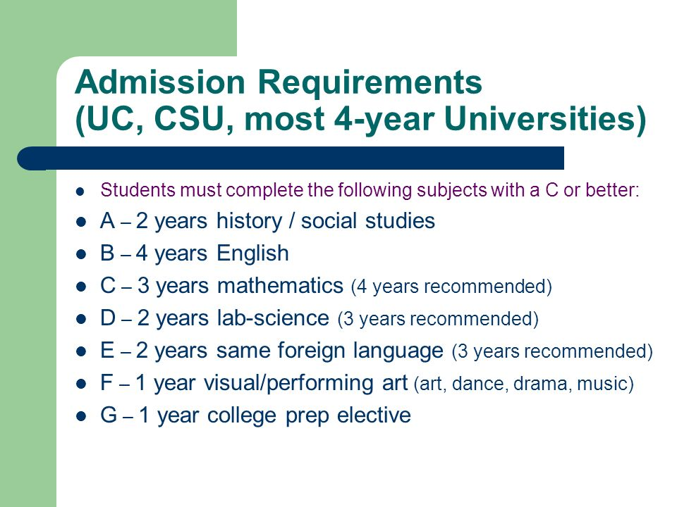 Admission Requirements (UC, CSU, most 4-year Universities)