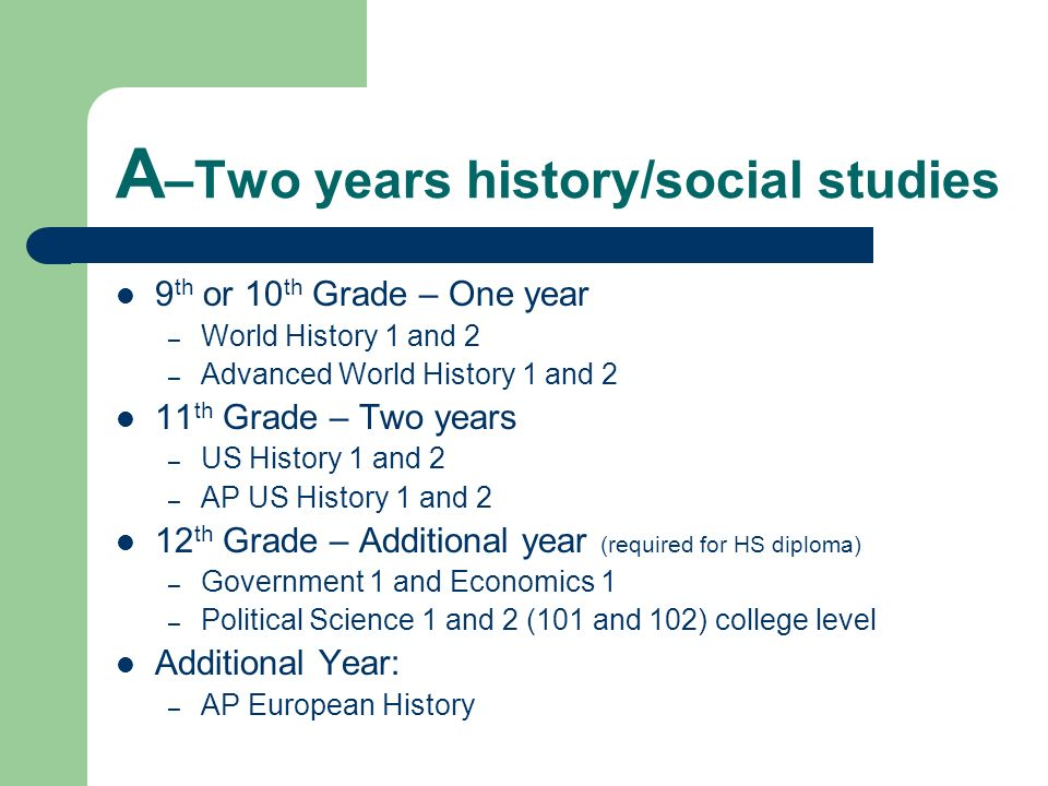 A–Two years history/social studies